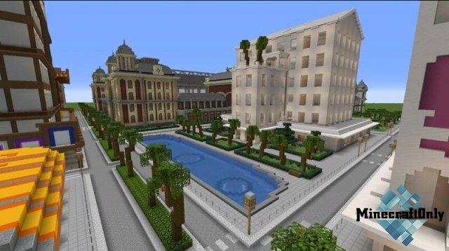 Yvent City - небольшой город с реальными зданиями